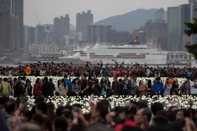 25 тысяч белых роз зажглись в Light Rose Garden в Китае